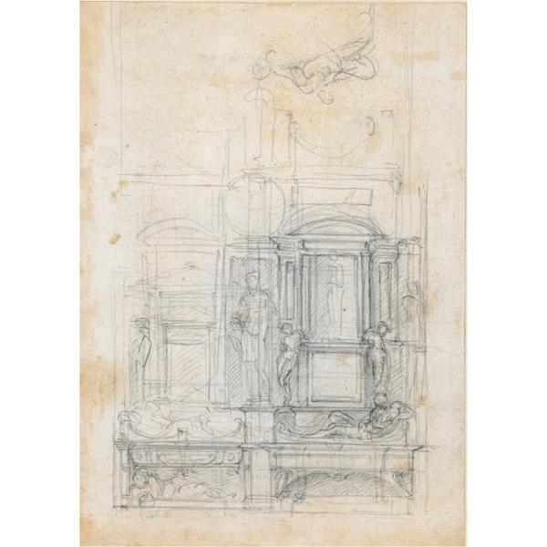 Studies for a double tomb wall, c.1520 - Michelangelo