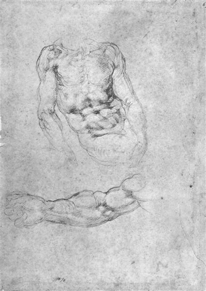"Studies for ""Pieta"" or ""The Last Judgement"", c.1530 - Michelangelo"