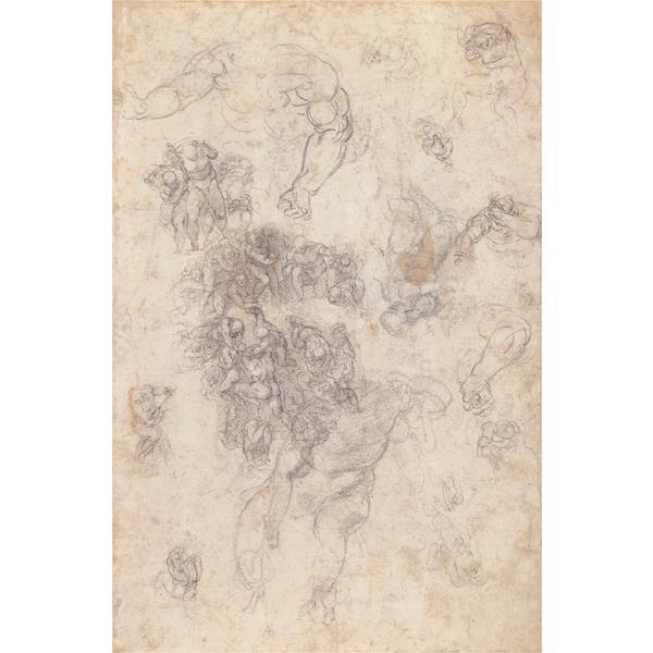 """Studies for """"The Last Judgement"""", c.1534 - Michelangelo"""