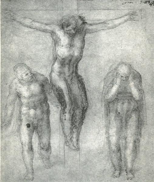 "Study for ""Christ on the cross with Mourners"", 1548 - Michelangelo"