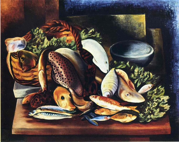 Still life with fish - Moise Kisling