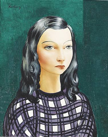 Woman with brown hair - Moïse Kisling