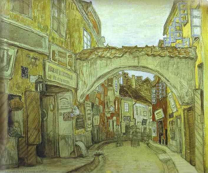 Glassmakers street in Vilno - Mstislav Dobuzhinsky