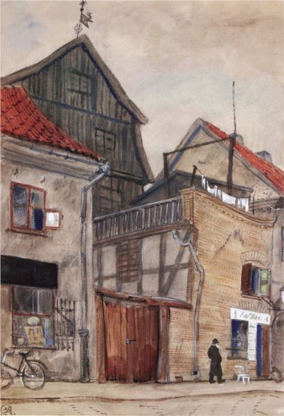 Kaunas, old houses, 1931 - Mstislav Dobuzhinsky