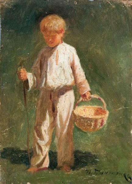Boy with a basket - Mykola Pymonenko