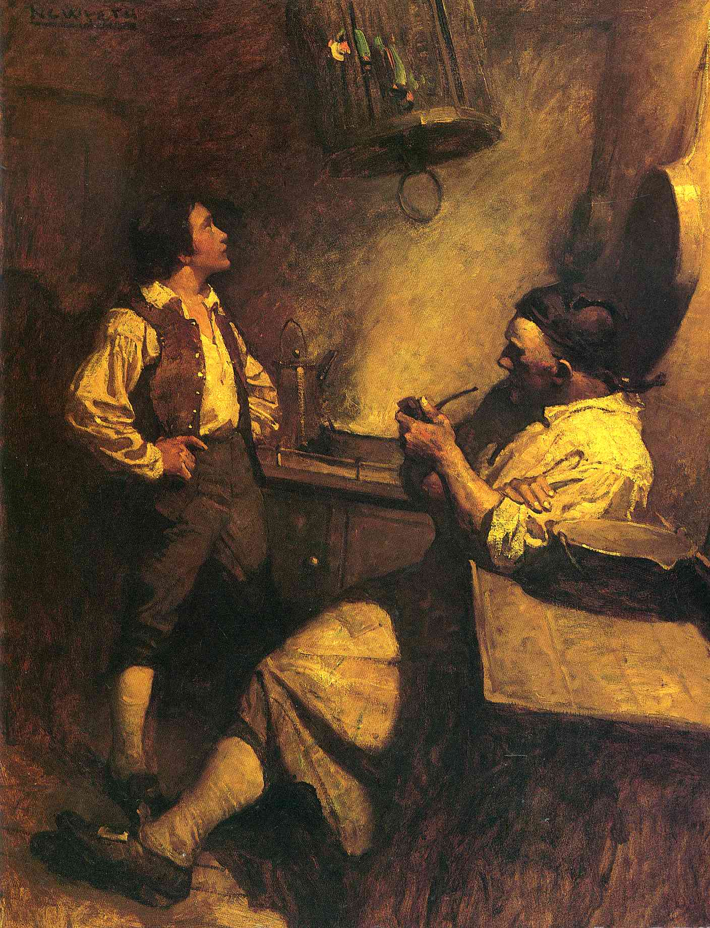 Jim hawkins long john silver and his parrot n c wyeth for What kind of fish does long john silver s use