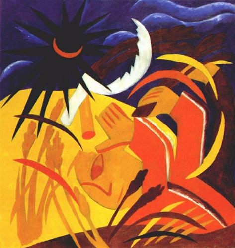 Harvest. Natalia Goncharova, 1911. Click image to view source.