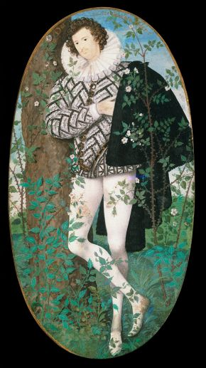 A Young Man Leaning Against a Tree Amongst Roses, 1595 - Nicholas Hilliard