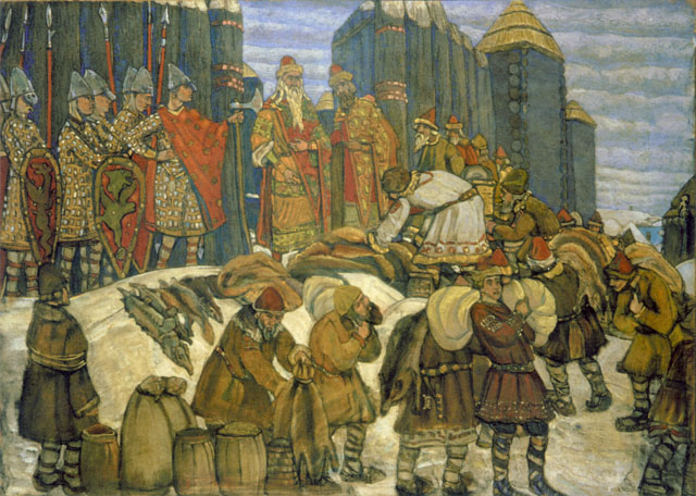 russian prince collects tribute 1908 nicholas roerich wikiart org