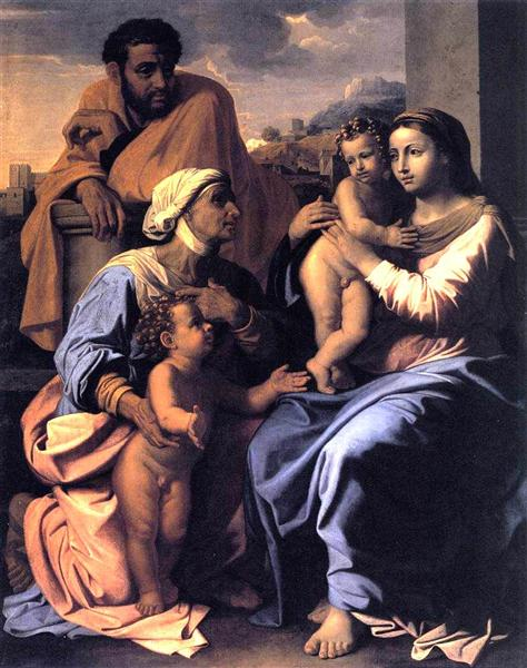 The Holy Family with St. Elizabeth and John the Baptist, c.1655 - Nicolas Poussin