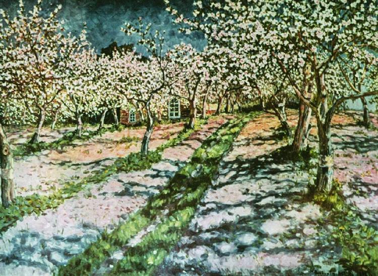 Bloomy Apple Garden, 1936 - Nikolay Bogdanov-Belsky - WikiArt.org
