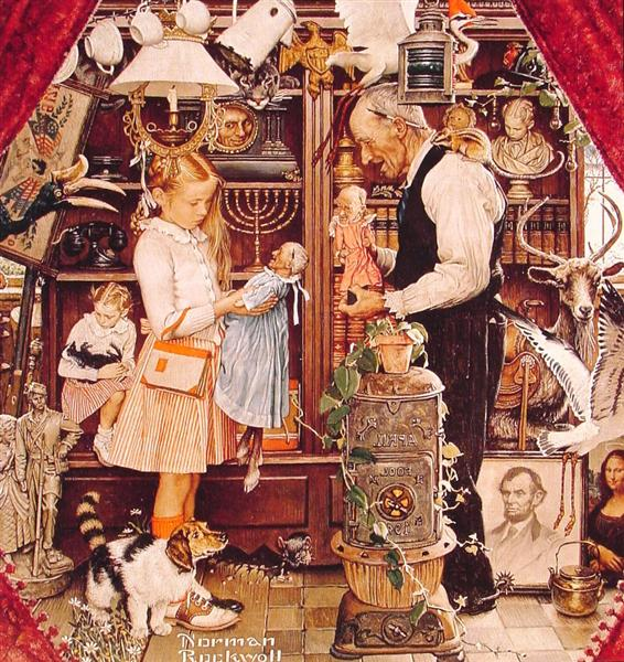 April Fool Girl with Shopkeeper, 1948 - Norman Rockwell