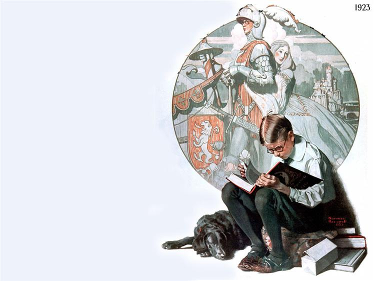 Boy Reading Adventure Story - Norman Rockwell