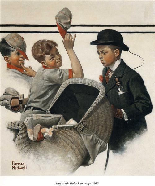 Boy with Baby Carriage - Norman Rockwell