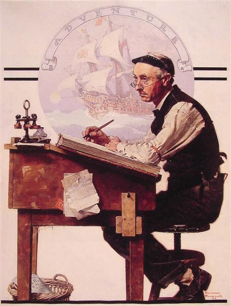 Daydreaming Bookeeper (Adventure), 1924 - Norman Rockwell
