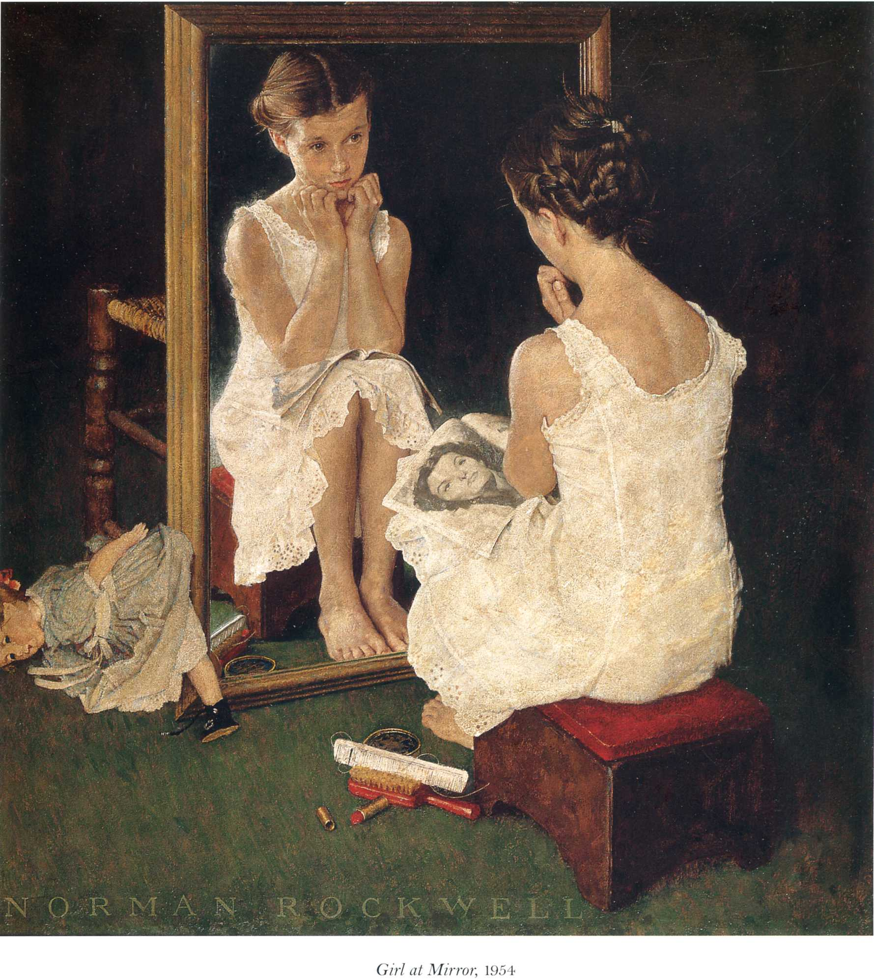 Rockwell Girl at Mirror