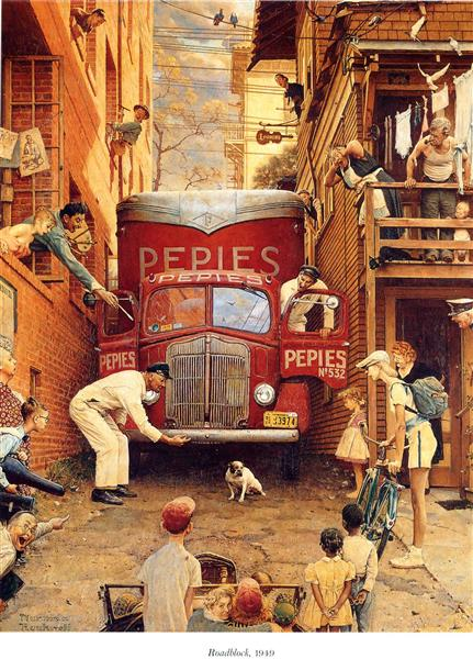 Roadblock, 1949 - Norman Rockwell