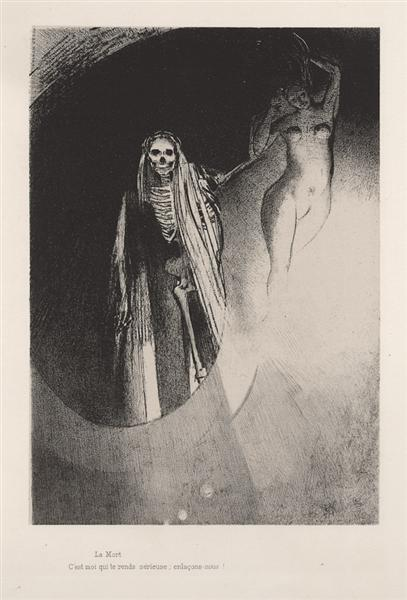 Death: It is I who makes you serious; let us embrace each other (plate 20), 1896 - Odilon Redon