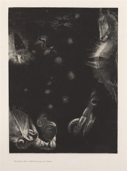 Different peoples inhabit the countries of the Ocean (plate 23), 1896 - Odilon Redon