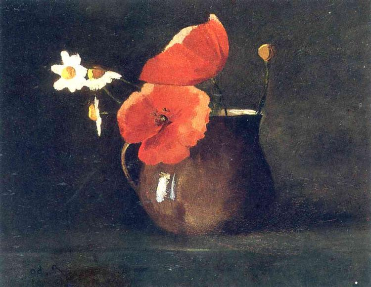 Flowers in green vase, c.1868 - Odilon Redon