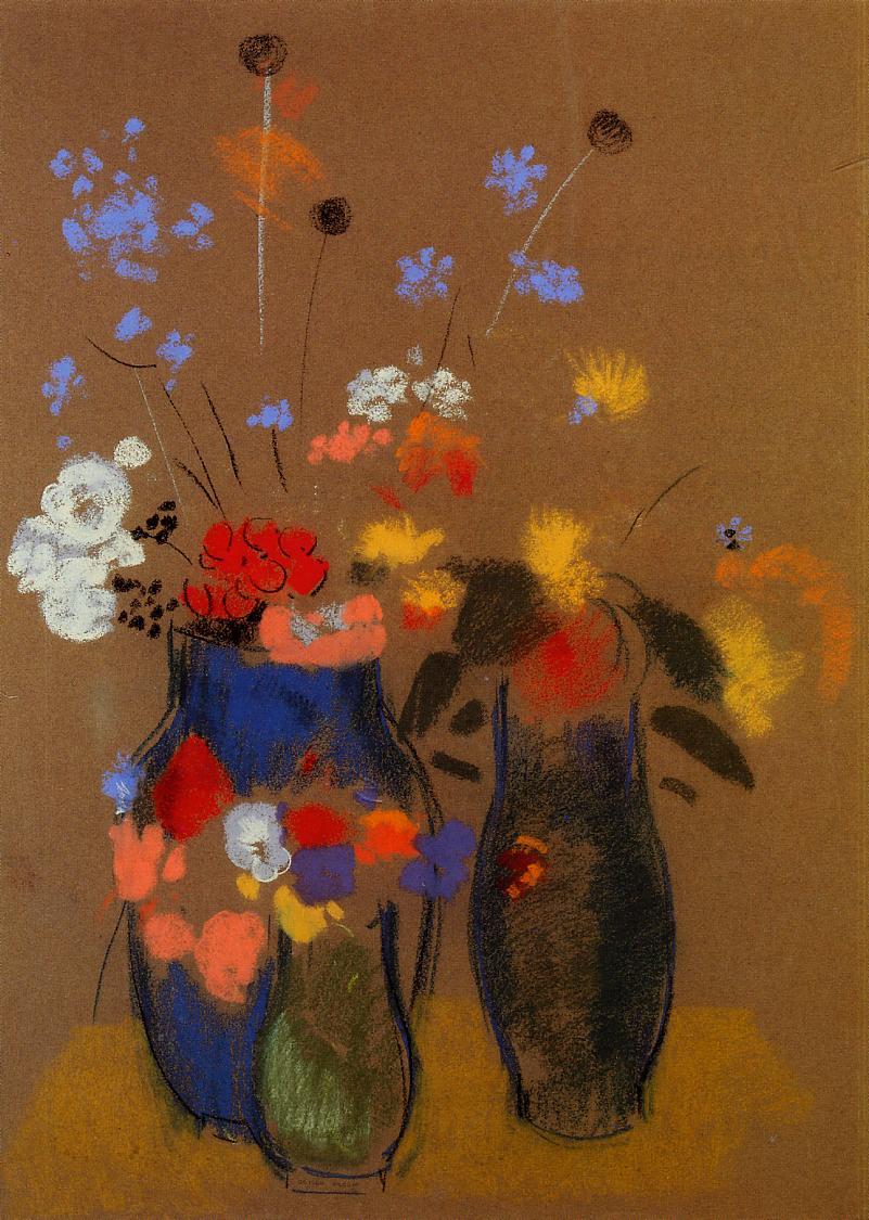 Three vases of flowers c1909 odilon redon wikiart three vases of flowers c1909 odilon redon reviewsmspy