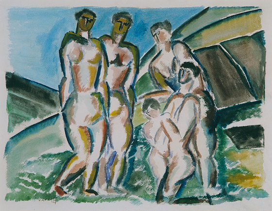 Landscape and bathers, 1919 - Ossip Zadkine