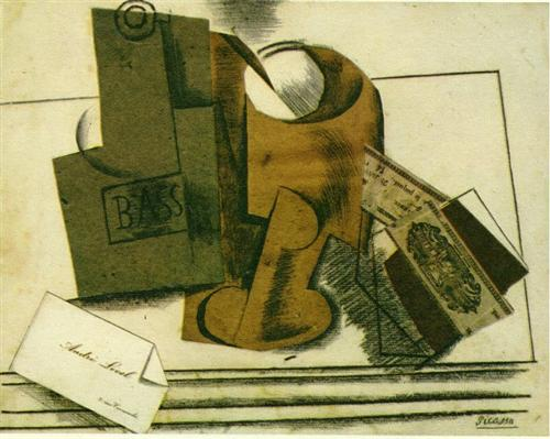 Bottle of bass, glass and package of tobacco - Pablo Picasso