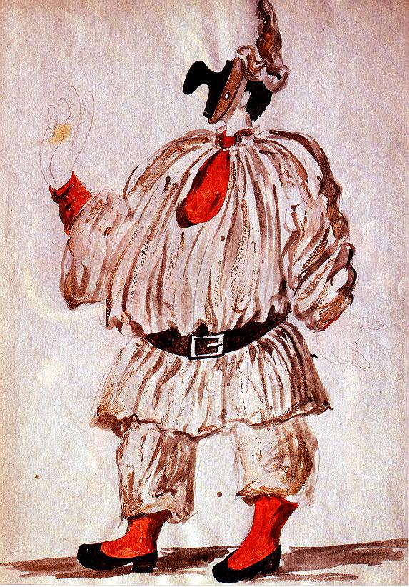 Design of costume for  u0026quot;Pulcinella u0026quot;, 1920   Pablo Picasso   WikiArt org