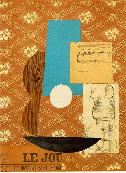 Guitar, Sheet music and Wine glass, 1912 - Pablo Picasso