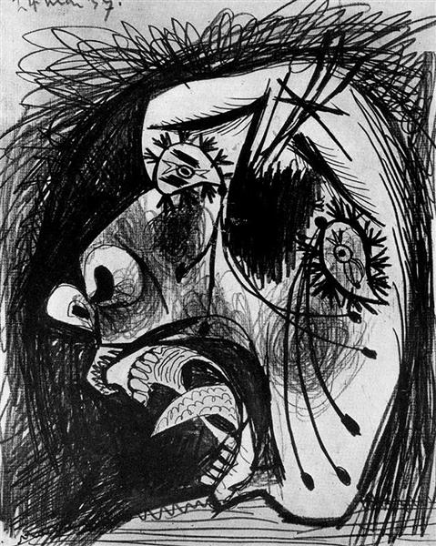 Head of crying woman, c.1937 - Pablo Picasso - WikiArt.org