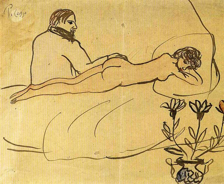 Nude with Picasso by her feet, c.1903 - Pablo Picasso