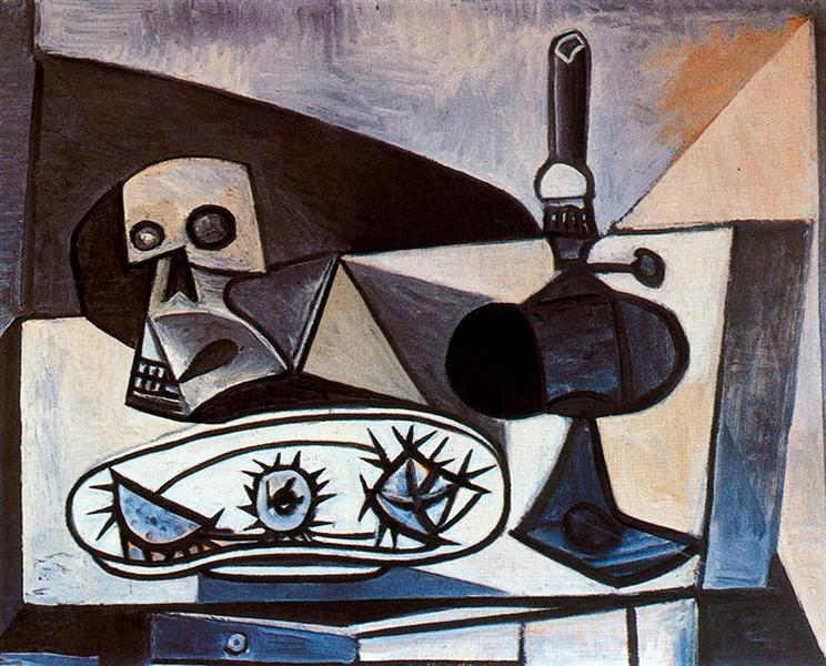Skull, urchins and lamp on a table, 1943 - Pablo Picasso