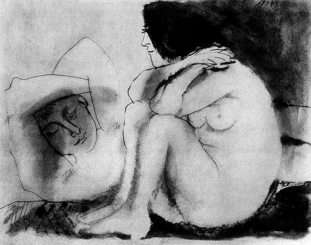 Resultado de imagen de sleeping man and sitting woman picasso