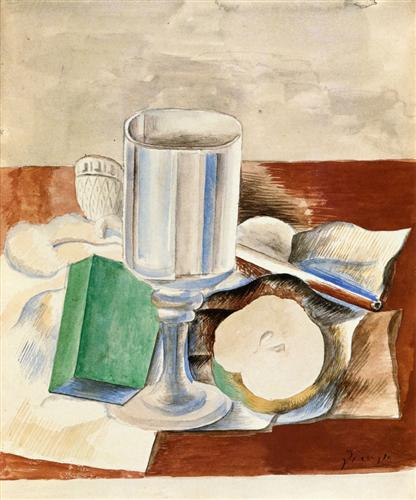 Still life with Class and an Apple - Pablo Picasso