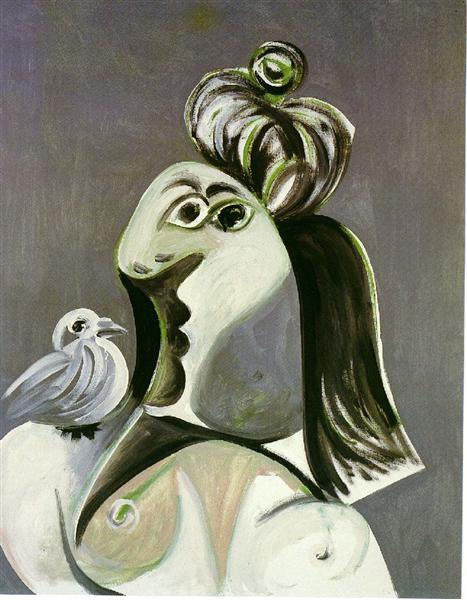 Woman with bird, 1970 - Pablo Picasso