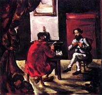 Paul Alexis Reading at Zola's House - Paul Cezanne