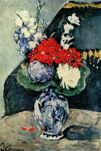 Still life, Delft vase with flowers, 1874 - Paul Cezanne
