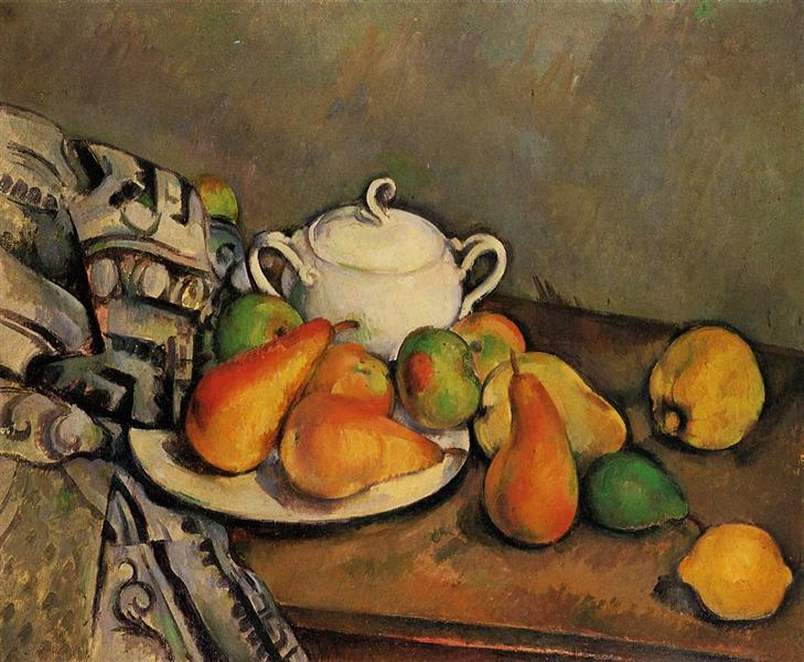 Sugarbowl, Pears and Tablecloth, c.1894 - Paul Cezanne