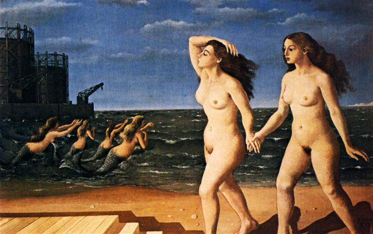 Woman in front of the sea, 1943 - Paul Delvaux
