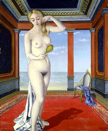 Woman with mirror, 1945 - Paul Delvaux