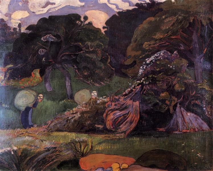 Brittany landscape with women carrying sack, 1889 - Paul Gauguin