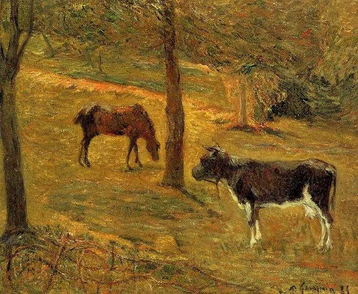 Horse and Cow in a Meadow, 1885 - Paul Gauguin