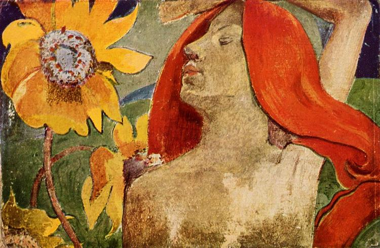 Redheaded woman and sunflowers, c.1890 - Paul Gauguin