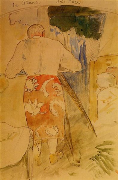 Self portrait, at work, c.1893 - Paul Gauguin