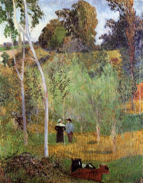 Sheperd and sheperdess in a meadow, 1888 - Paul Gauguin