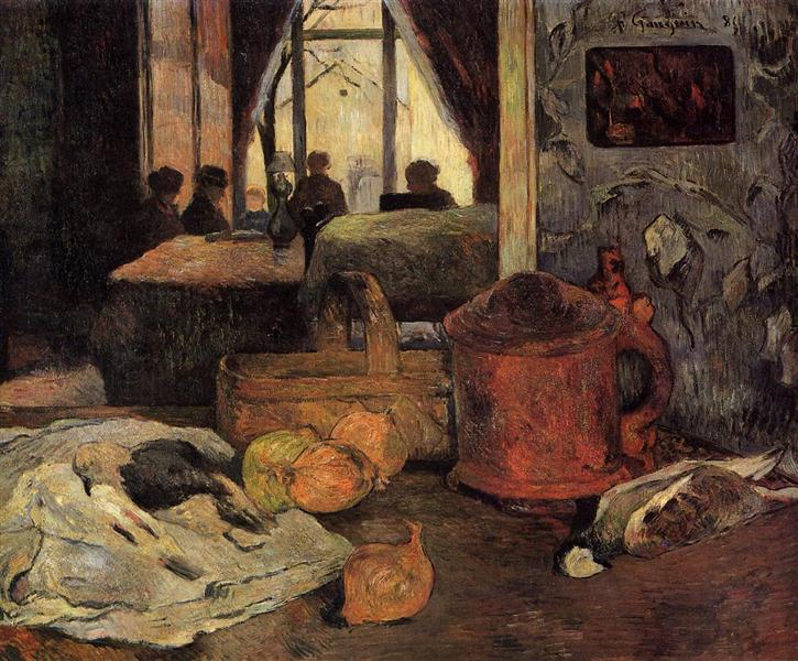 Still life of onions and pigeons and room interior in Copenhagen, 1885 - Paul Gauguin