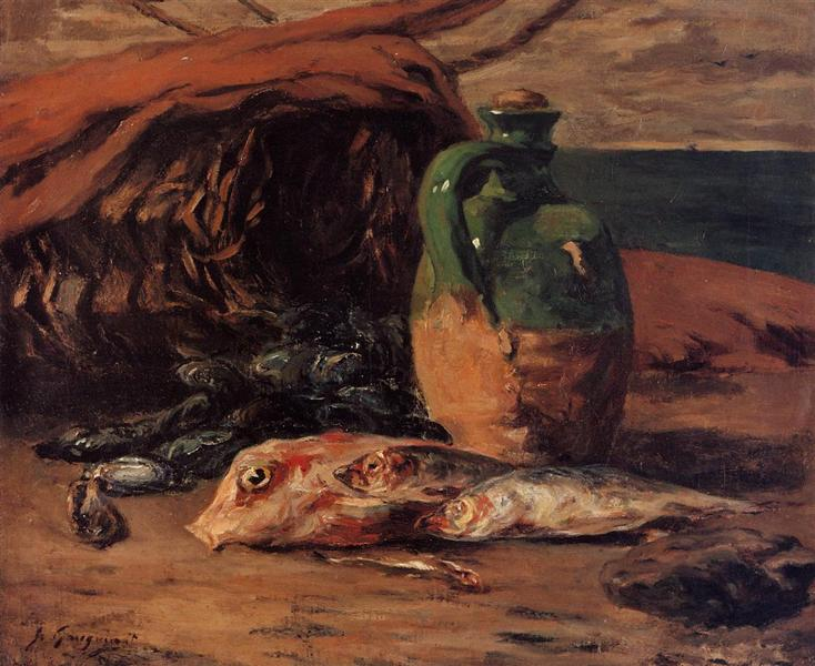 Still life with red mullet and jug, 1876 - Paul Gauguin