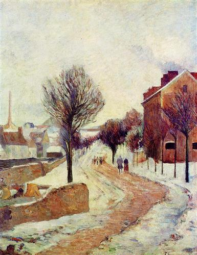 Suburb under snow - Paul Gauguin