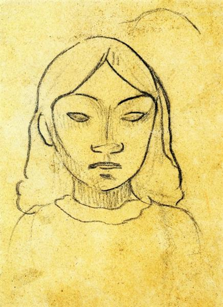 Tahitian woman's head, c.1892 - Paul Gauguin