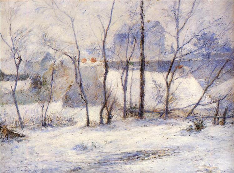 Image result for winter landscape by paul gauguin